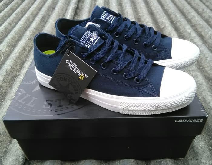 Sepatu Converse18 All Star Sneackers Cassic Chuck Taylor Fashion Skull Bones Navy Blue High Original Premium Biru