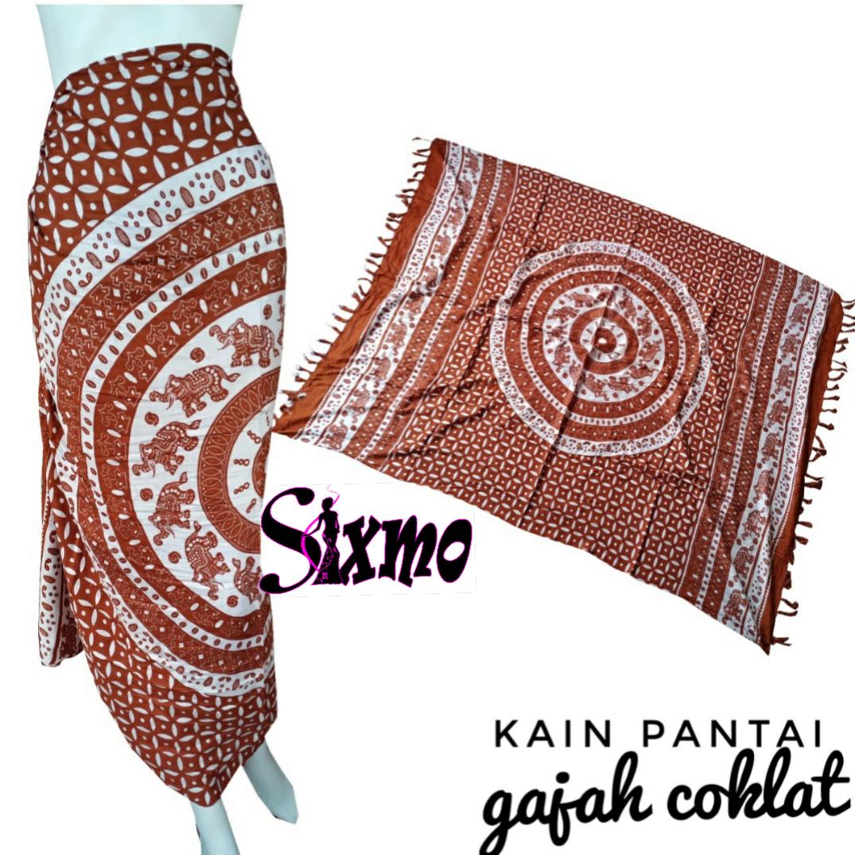 Sixmo - Kain Pantai Motif Tribal Gajah Printing Bali