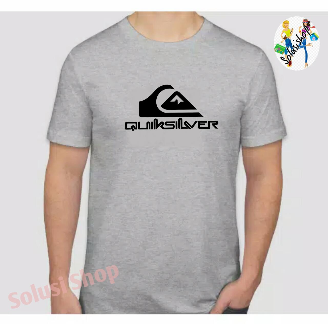Baju Kaos Lengan Pendek Quiksilver Logo Texs Hitam Keren Distro Premium