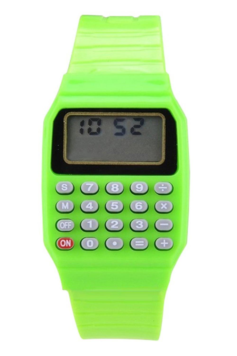 Boys and girls silicone date display electronic watch multifunction calculator watch kids calculator watch green Malaysia