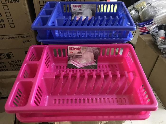 Rak Piring Dengan Nampan Rak Piring Plastik Susun 1 + Nampan