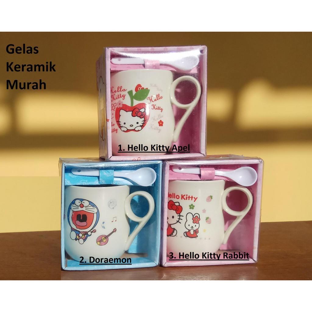 Mug Cangkir Gelas Doraemon dan Hello Kitty