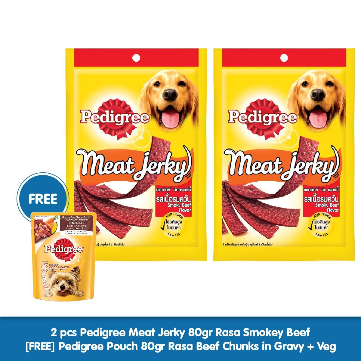 Pedigree Meat Jerky 80gr Makanan Anjing Ringan Rasa Smokey Beef
