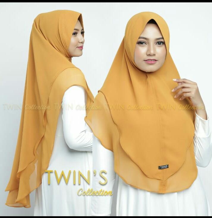 Hijab/Jilbab Instan Model Bergo terbaru termurah dan Terlaris / Kerudung Wanita cerutty dua layer polos Twins / Dedek Jaya