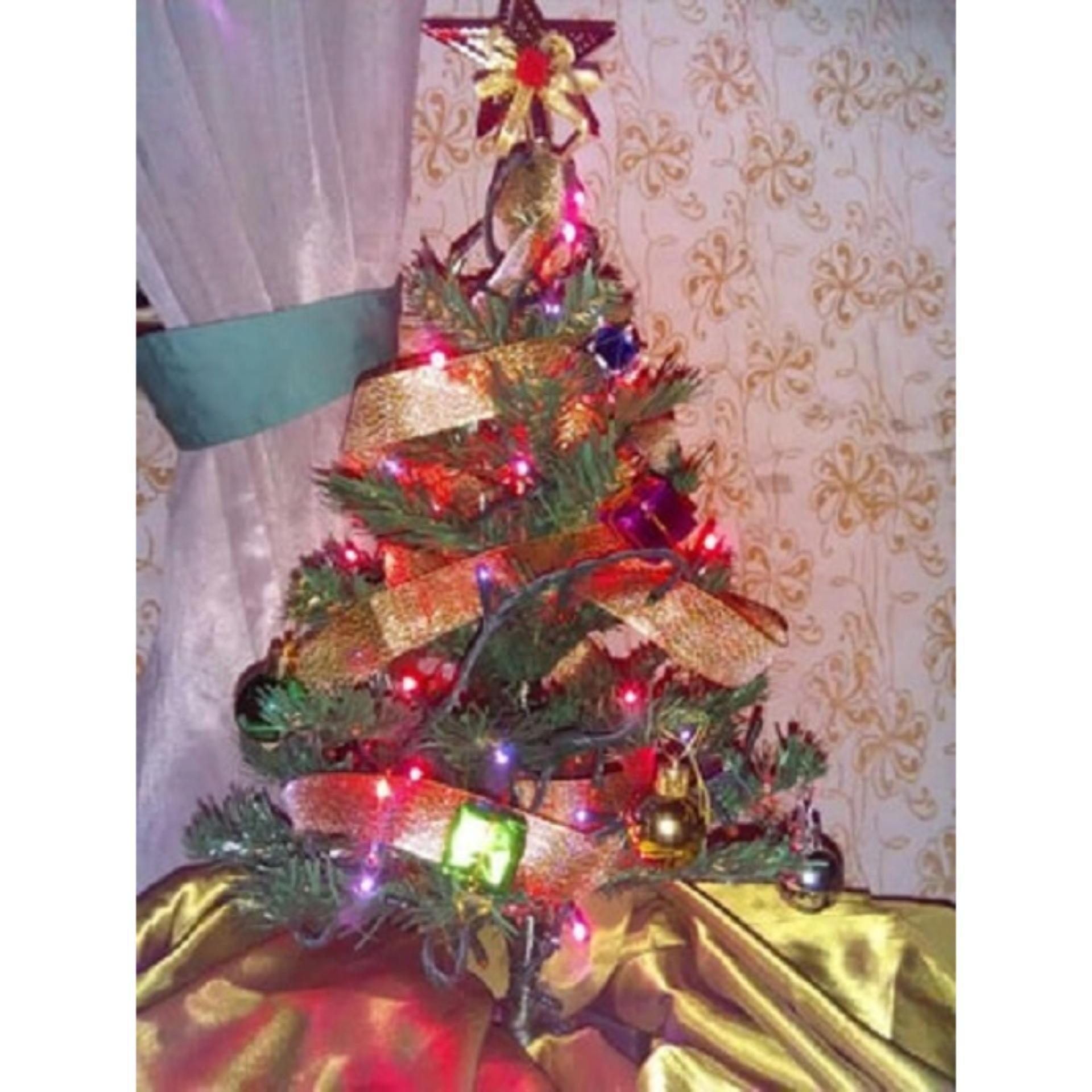 Pohon Natal beserta dengan Hiasan (1 Set) - Tinggi 35 Cm