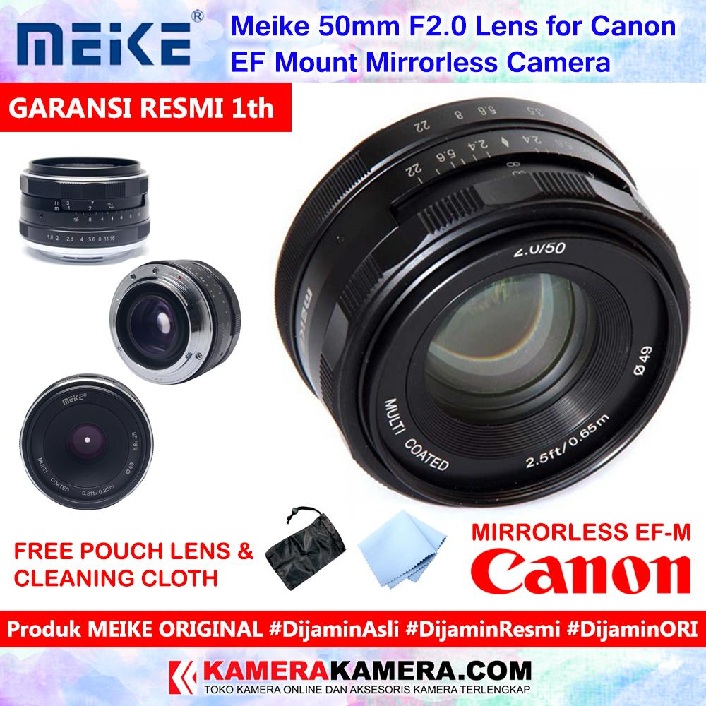 Meike 50mm F2.0 Lens For Canon Eos M Mirrorless Camera Original Include Pouch + Cleaning Cloth - Garansi Resmi 1th For Canon Eos M10 M3 M6 M5 M100 Etc By Kamerakamera.