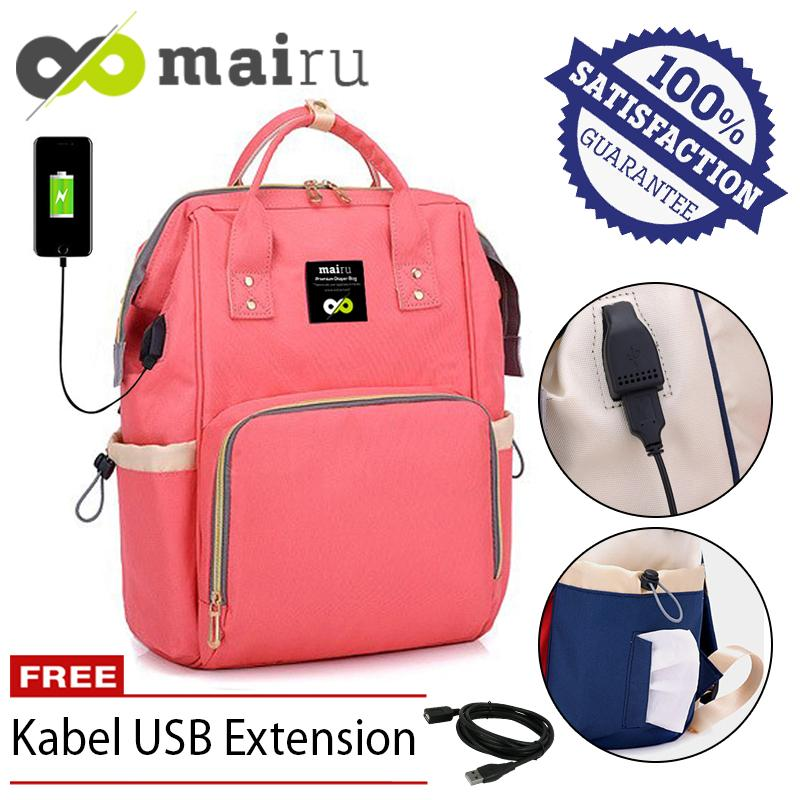 Mairu 2209 Tas Ransel Perlengkapan Popok Bayi Wanita Travel Baby Bag Import  Backpack Korean Fashion - 8f12df921e