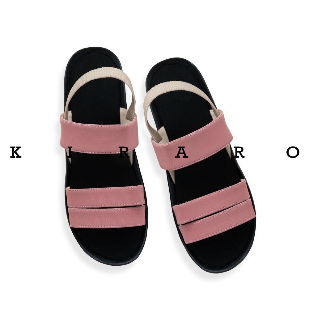 KIRARO Sandal Sendal Wedges Tali Karet Wanita Santai Casual KTLR01 af329088fe