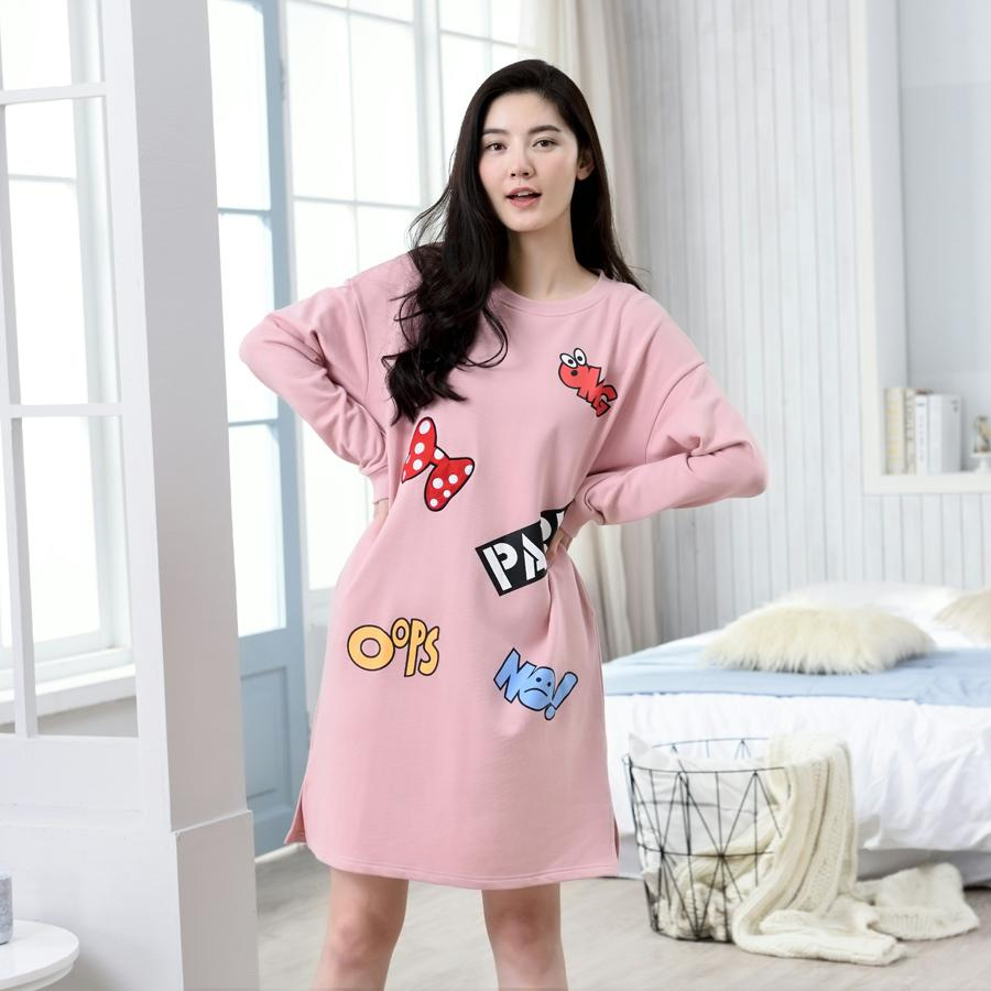 Korean Style Hipster Nightgown Long Sleeve Spring And Autumn Pure Cotton Pajamas  women Cute Cartoon Loose 62c4c4930