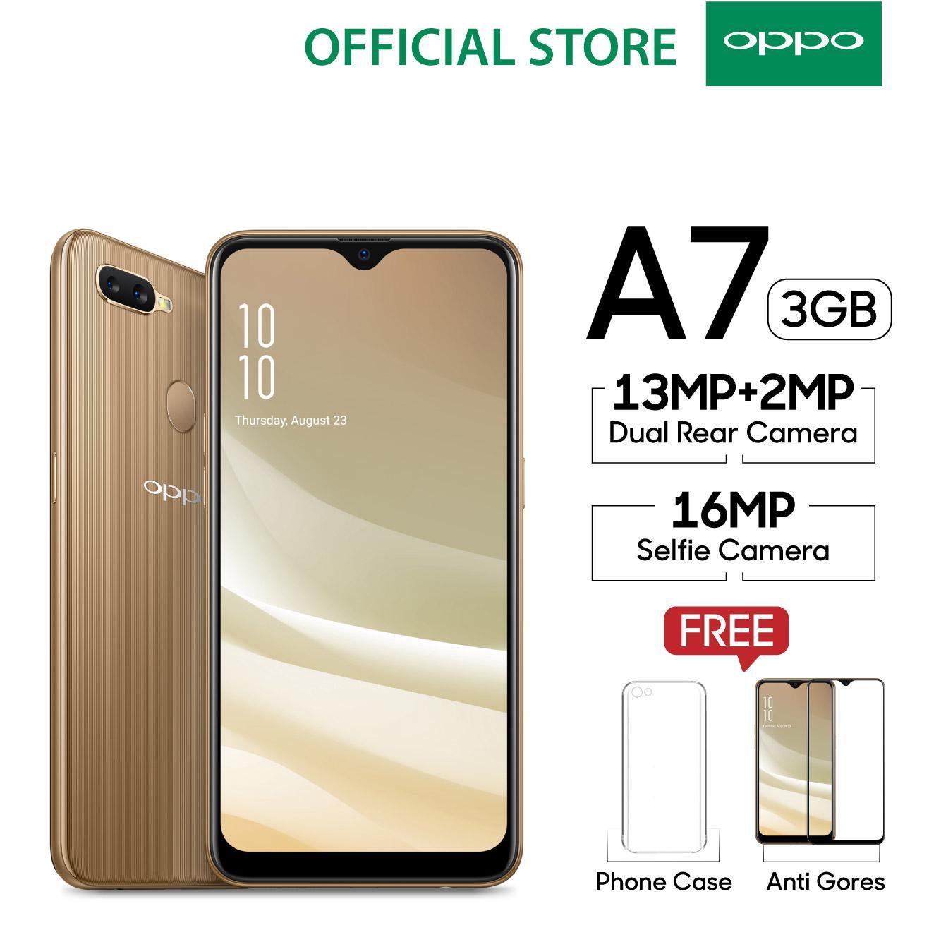 OPPO A7 SMARTPHONE 3GB/64GB,Waterdrop Screen, 3D Premium Body,Dual Camera, AI beauty, Long Lasting Battery (Garansi Resmi, Cicilan 0%, Gratis Ongkir)