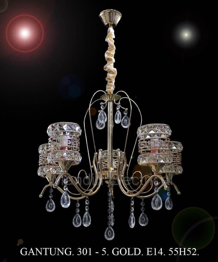 Promo lampu Hias Gantung Kristal Dekorasi Ruang Tamu 301- 5 GD Termurah