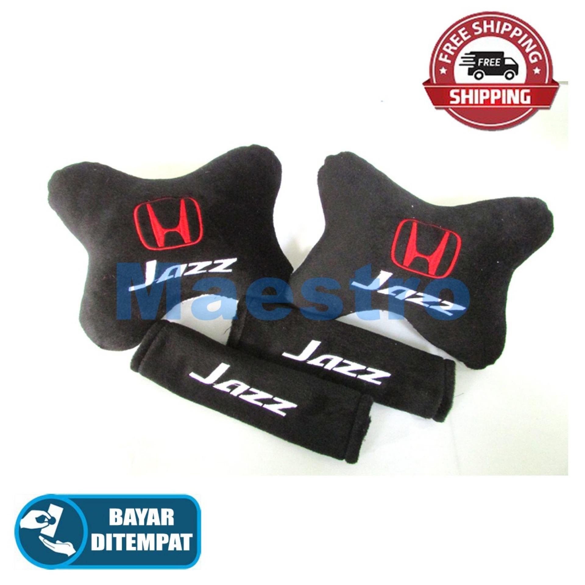 Aksesoris bantal leher jok mobil lucu unik Set 2in1 Honda Jazz