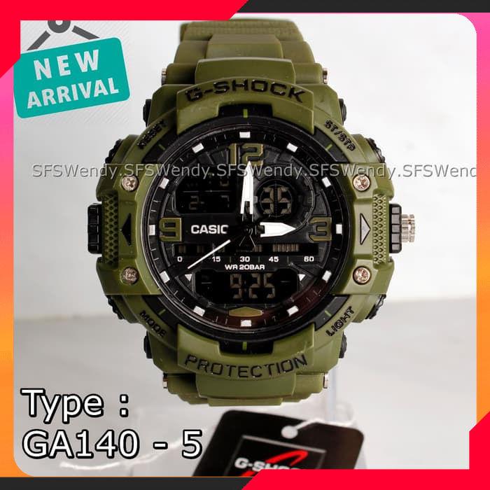 FOTO REAL !!! Jam tangan G Shock GA-140 Hijau Green Army anti air Murah