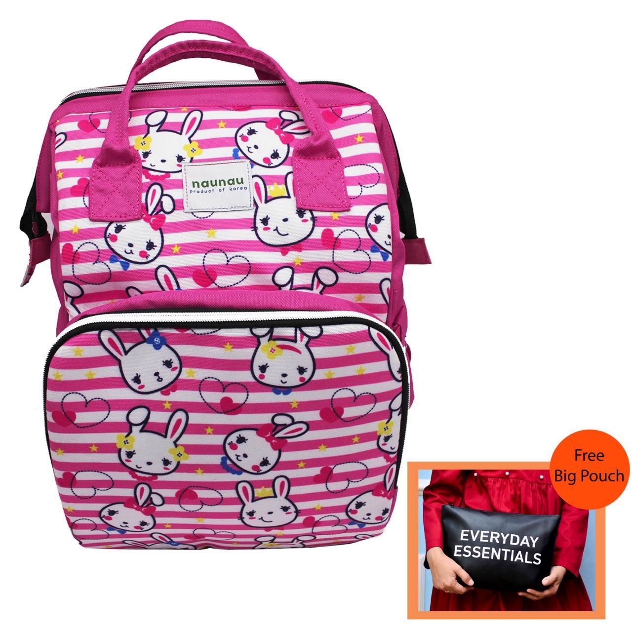 Diapers Ibu Tas Ransel Wanita Multifungsi Tas Bayi Motif Pink Rabbit By Tonga Bag