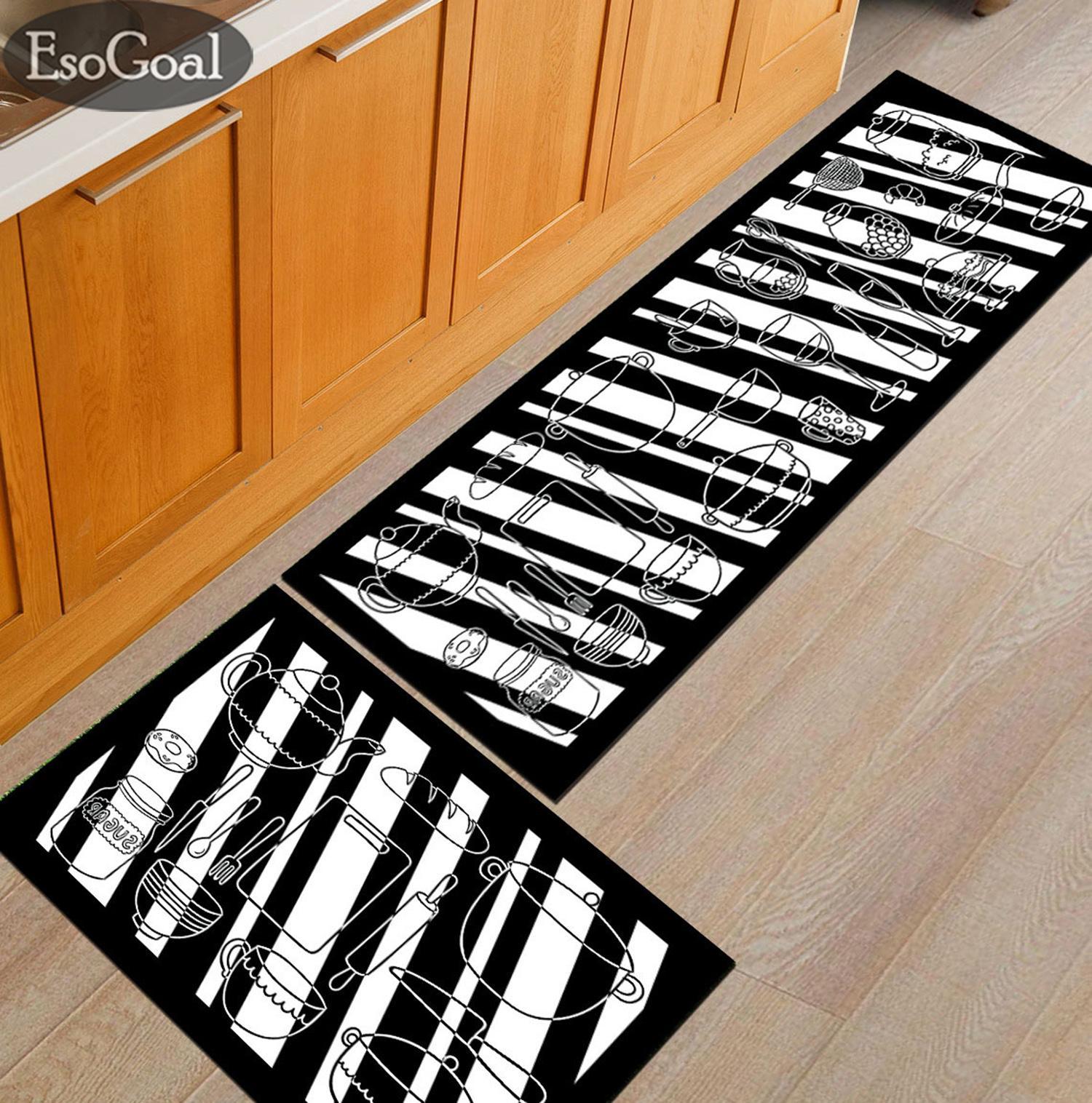 EsoGoal Kitchen Utensils Design Antislip Carpet (120cm x 40cm) Free (60 x 40cm) Soft Flannel Carpet Rug Floor Mat Kitchen Dapur and Bathroom
