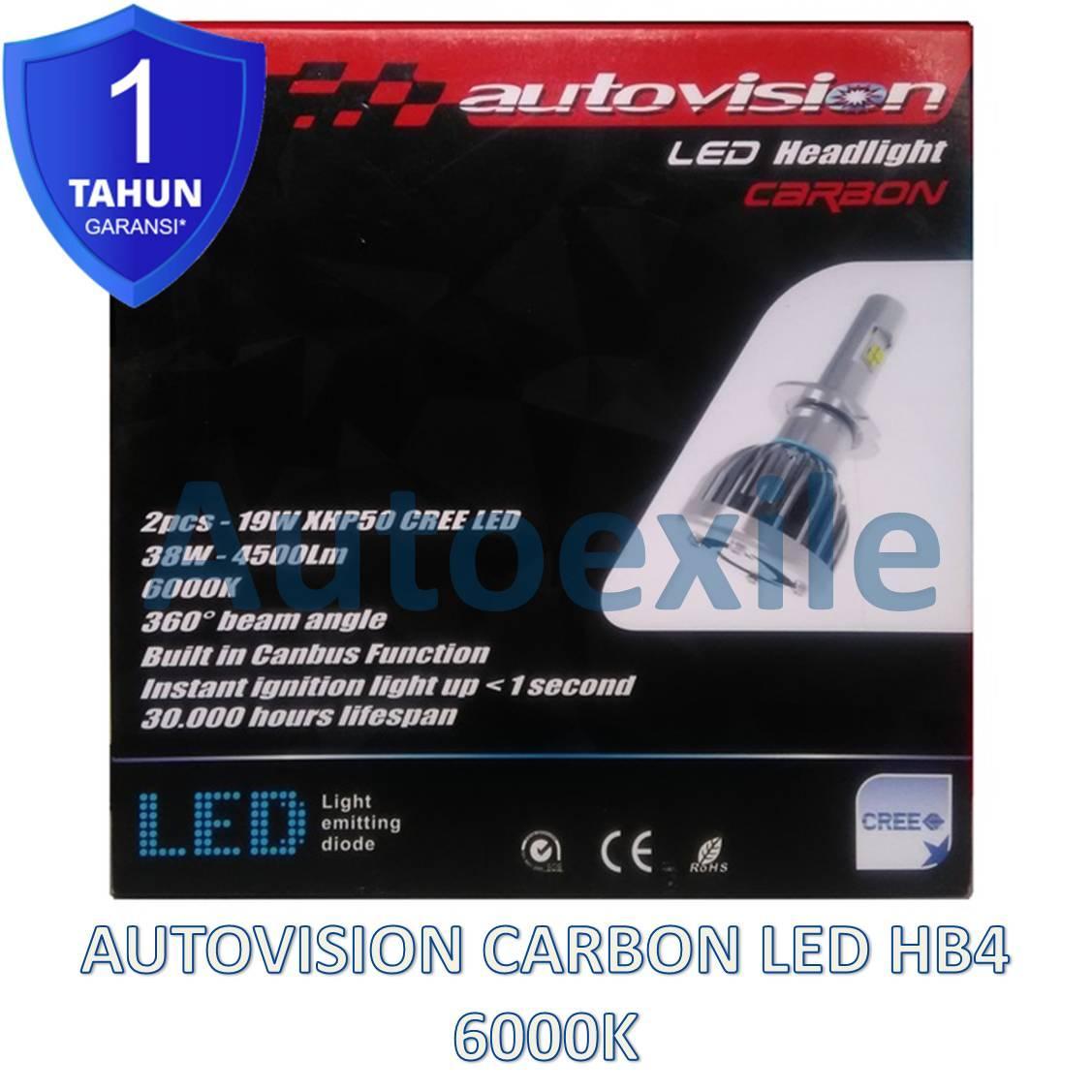 Autovision Carbon LED HB4 9006 38W Canbus 6000K Putih XHP50 CREE Lampu Mobil Civic CRV Fortuner Avanza Innova Landcruiser Elysion Grandis VW Golf Polo