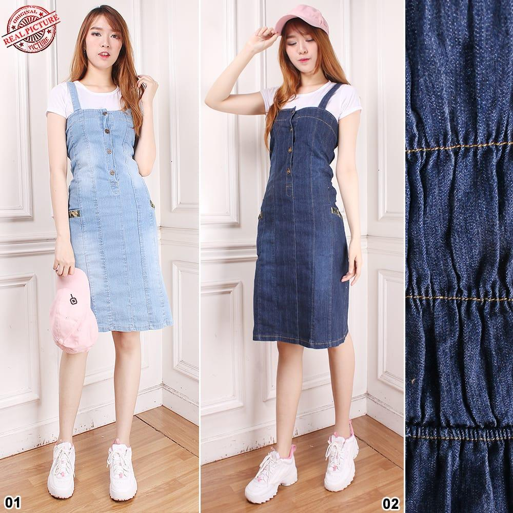 Dress Overall Jeans Panjang Gamis Wanita Jumbo Long Dress Juwina .