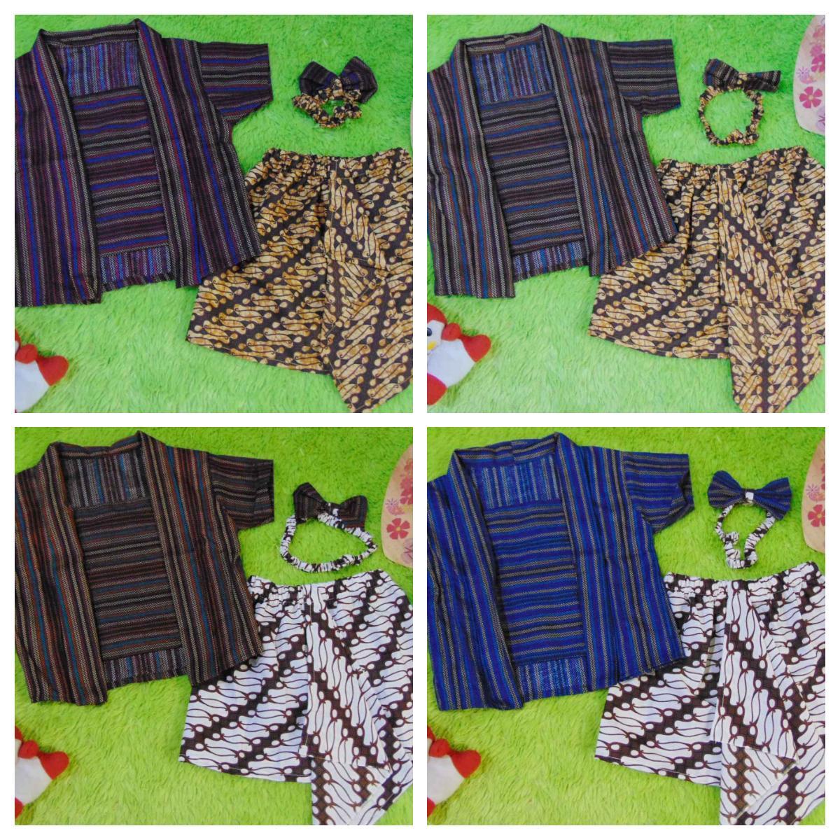 kembarshop- Setelan Baju Batik Kebaya Kutu Baru Bayi 6bulan-2tahun Plus Headband motif Lurik