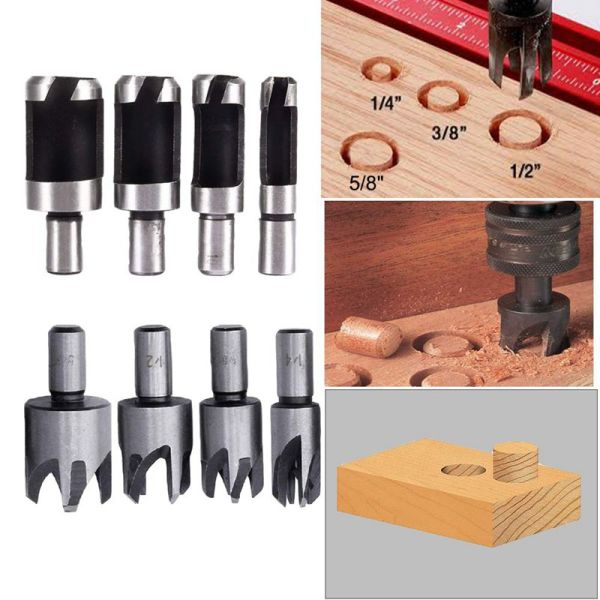 8Pcs Wood Plug Cutter,6Pcs 1/4 Inch Hex 5 Flute 90 Degree Countersink Drill Bits,7Pcs Three Pointed Countersink Drill Bit With L-Wrench And Automatic Center Punch Malaysia