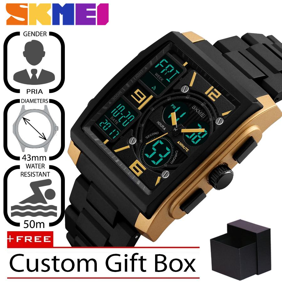 Skmei Original 1274 Jam Tangan Pria Premium Business Digital Led - Quartz Stainless Steel 43 Mm - Anti Air 50 M Renang - Water Resistant Watches By Finivo Store.