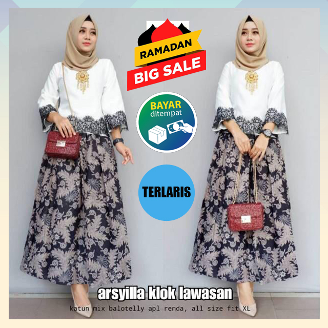 PROMO GAMIS BERKAH RAMADHAN (COD)/Baju Batik Terbaru 2020/Kebaya Batik/Kebaya Modern/Baju Batik/Baju Kebaya/Gamis Modern /Batik Terbaru/Batik Terbaru 2020/Batik Wanita/Batik Murah/Gamis Wanita/Gamis wanita Muslim/ Gamis Terbaru Arsyilla Set
