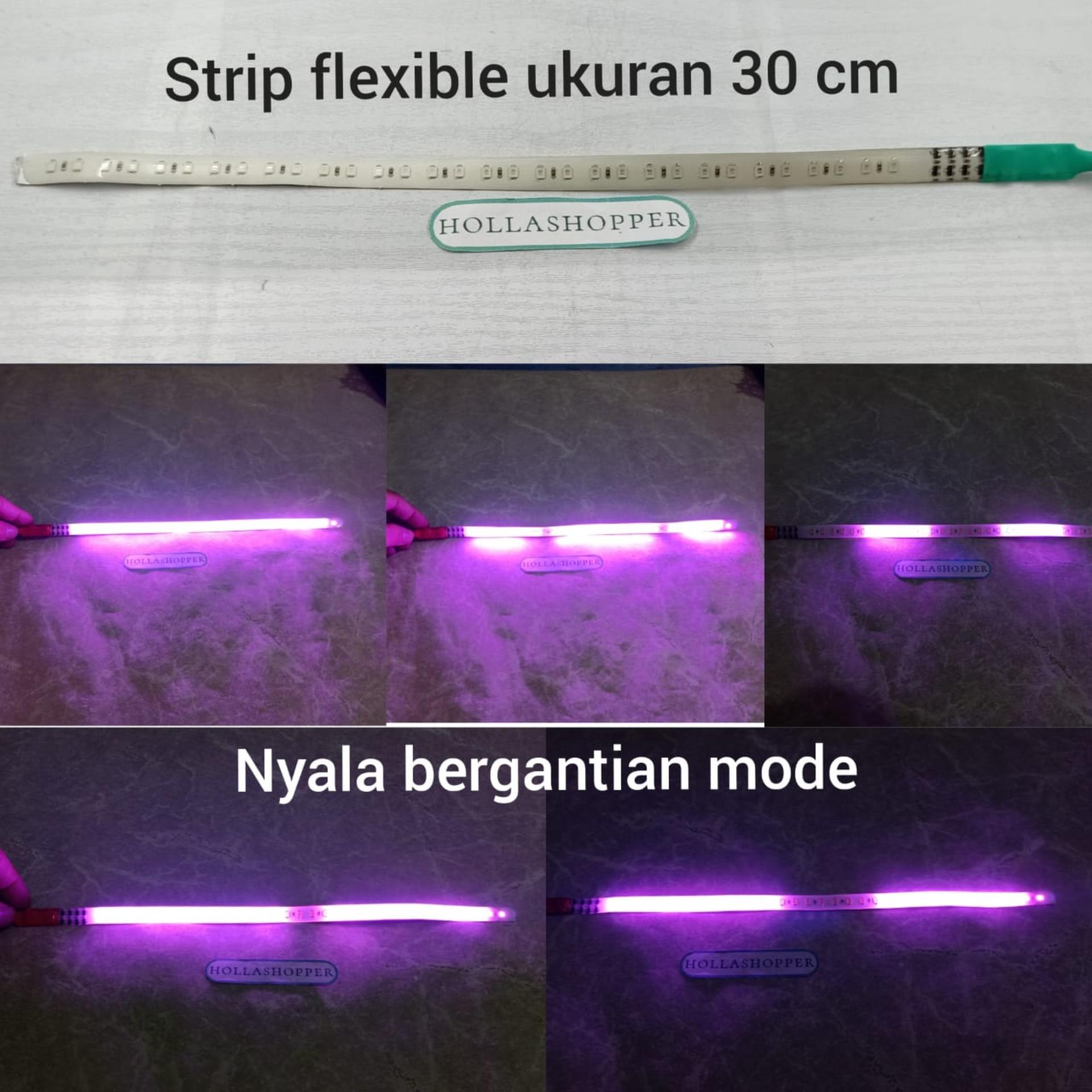 Lampu LED strip fleksibel strobo welcome 30cm banyak mode warna Pink waterproof