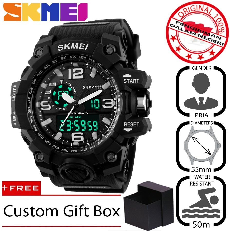 SKMEI 1155 Jam Tangan Pria Sport Analog - Digital Silikon PU 55 mm - Anti  Air c665a17aa6