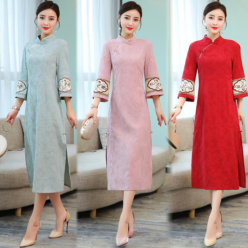 Kain linen jacquard gaun 2019 busana Musim semi model baru bordir pita Model Tiongkok Teh pakaian