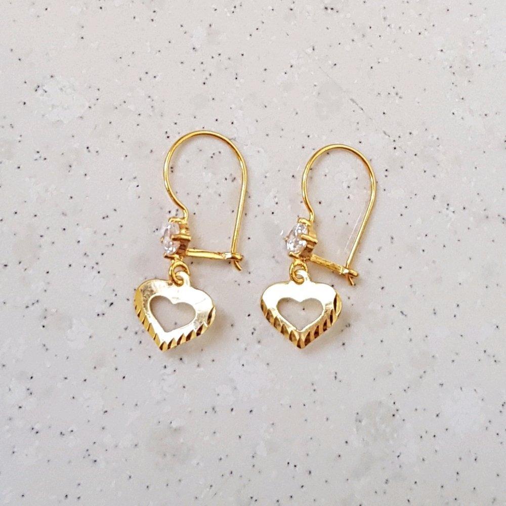 Termurah.. Unik Spesial Anting Remaja Kadar 700 Asli Shining Love Zirkon Earring By Yukon Gold.