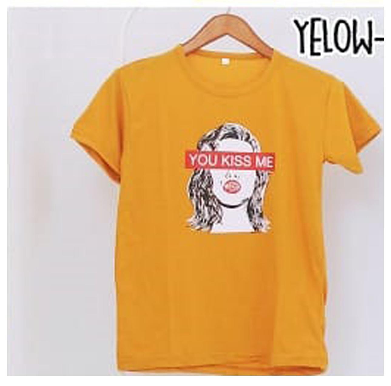 PROMO KaosLokal- Pusat Jual Kaos Murah Cewek Tumblr Tee - You Kiss Me Kuning Oblong Keren