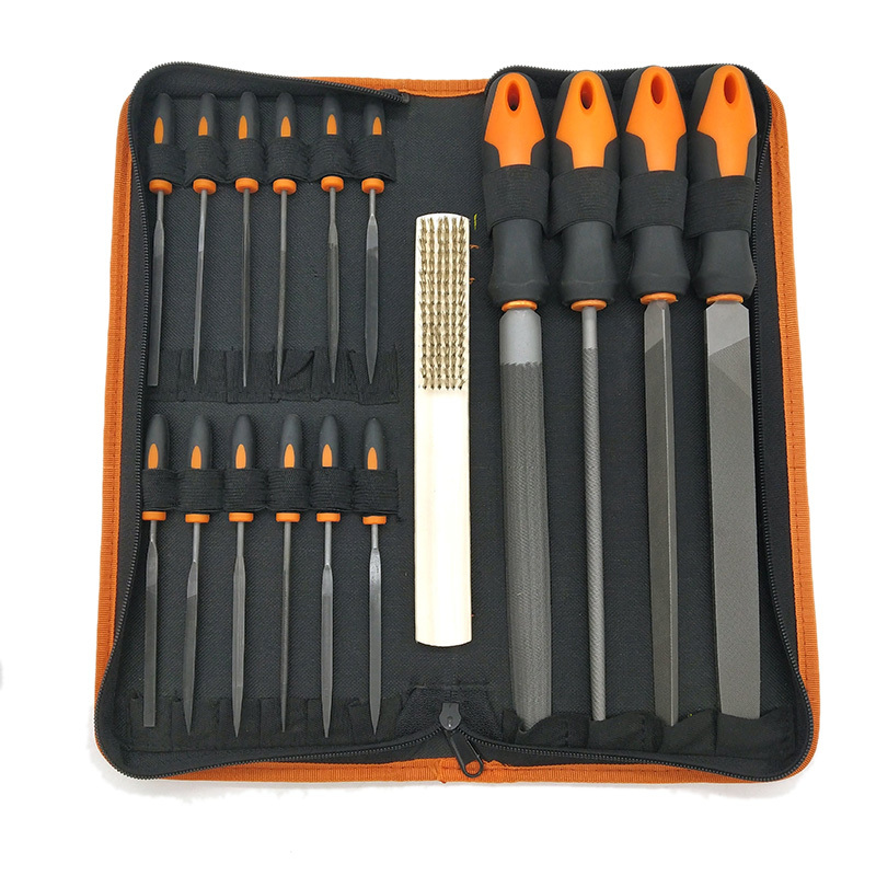 17Pcs Forged Alloy Steel File Set with Carry Case, Precision Flat/Triple-cornered/Half-Round/Round Large File and 12Pcs Needle Files, Soft Rubbery Handle, Shaping Tool