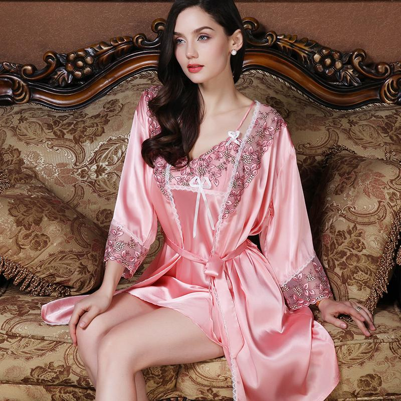6f259e4d12 Pajamas Female Spring And Autumn Thin Viscose Nightgown Large Size Pregnant  Women Set Sexy Short Sleeve Robe Summer Two-Piece Set