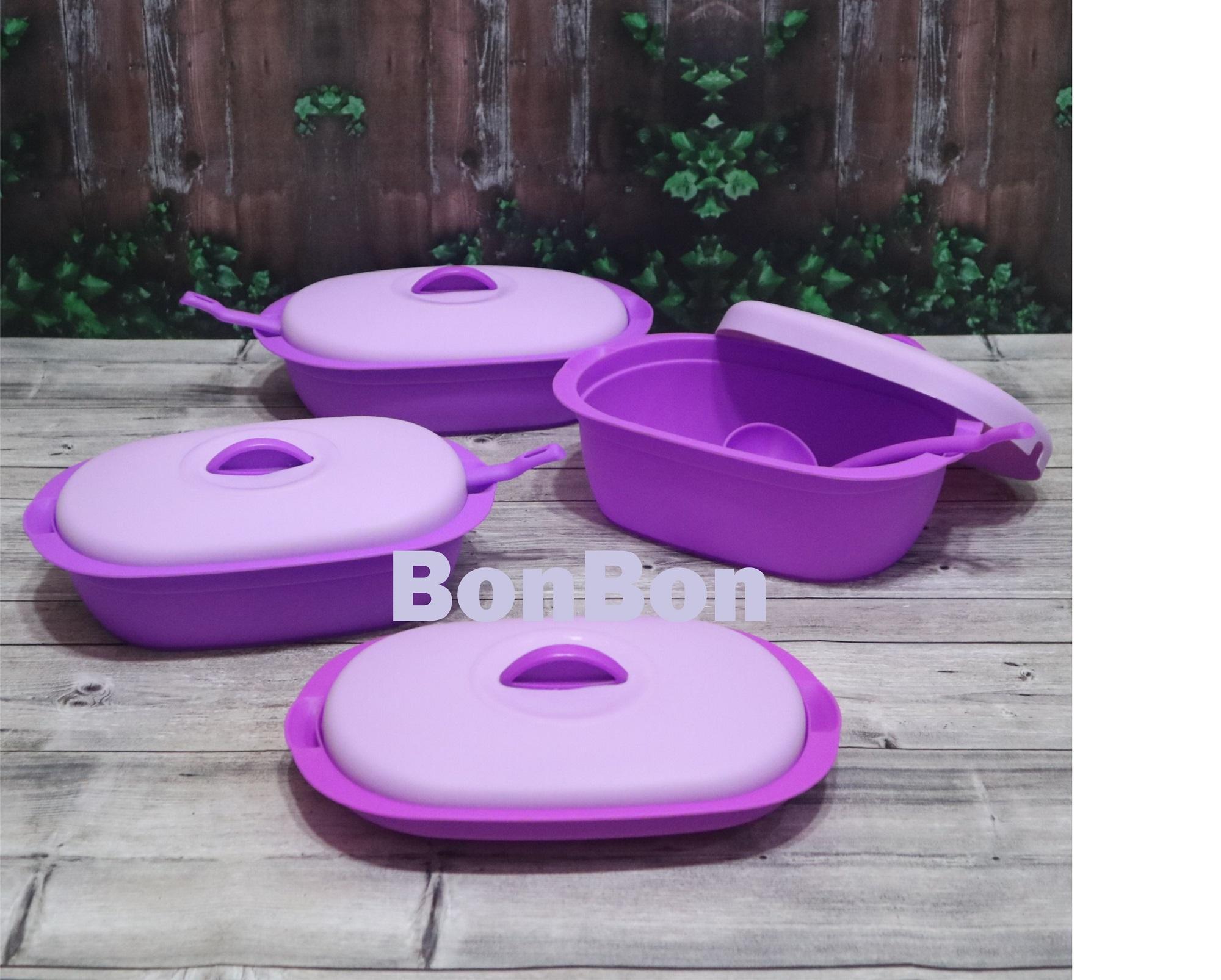 BonBon Wadah Saji Prasmanan Plastik Verona 4 Pcs + 3 Centong Ungu