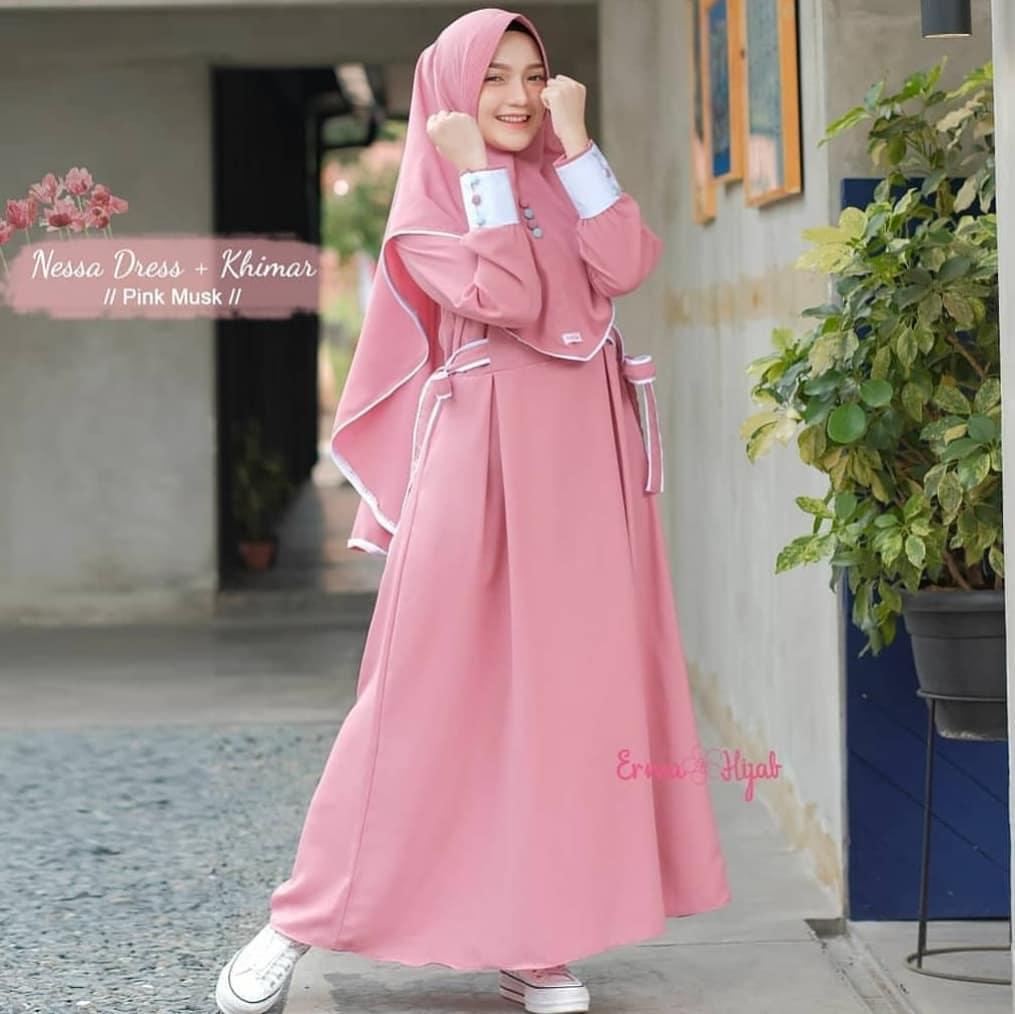 Nessa Syari Set Khimar Secrunchie Long Dress Wanita Baju Gamis Wanita Terbaru Gamis Syari Gamis Wanita Pakain Muslim Wanita Busana Muslim Wanita Terbaru Baju