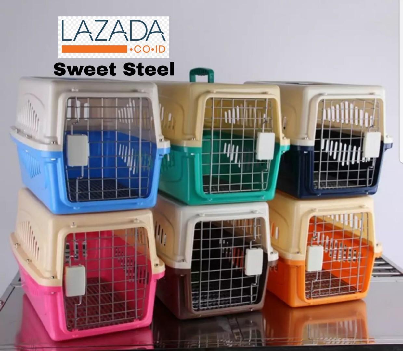 Pet Cargo / Pet Carrier BONUS Tray - Kandang (Cargo) Kucing Anjing 50x35x35