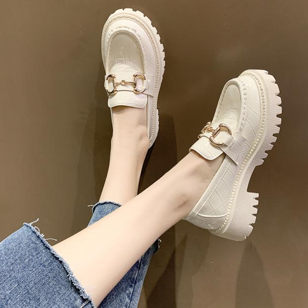 Giày Nữ Phong Cách Anh 2021 Mùa Xuân Mẫu Mới Đế Dày Phong Cách Nhật Bản JK Đồng Phục Da Sáng Bằng Sáng Chế Một Giày Lười Loafer Giày giá rẻ