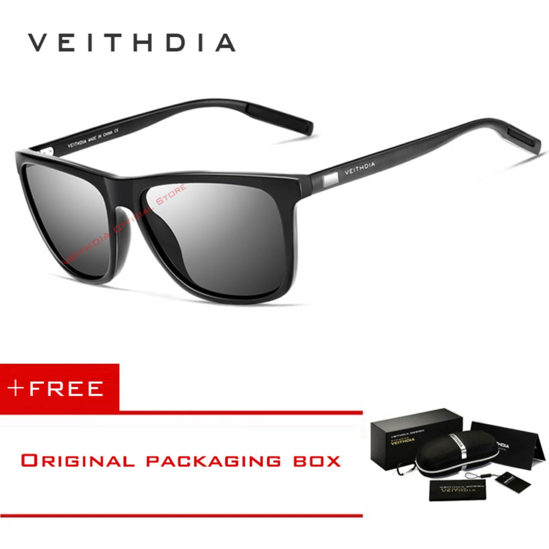 COD+Pengiriman Gratis VEITHDIA Kacamata Hitam TR90 Retro Lensa Polarisasi  Bermerek Untuk Pria Wanita 8964abbb9e