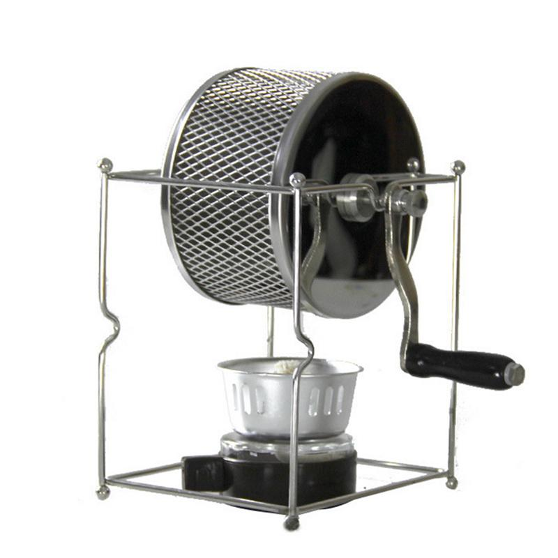 Stainless Steel Coffee Roaster Manual Hand-Operated Rotary Gas Alcohol Stove Bean Baking Maker Espresso Machine