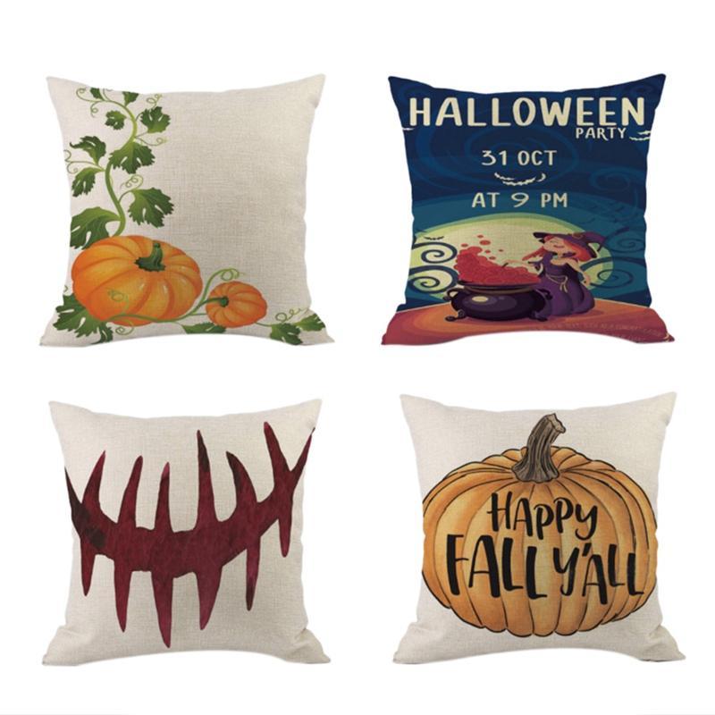 Pillow Case 45*45cm Cushion Cover Halloween Letter Pumpkin Home Decor 18*18in
