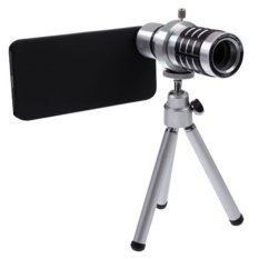 12X Optical Zoom Mobile Phone Telescope Lens with Tripod + Plastic Case for iPhone 5/5s - Black