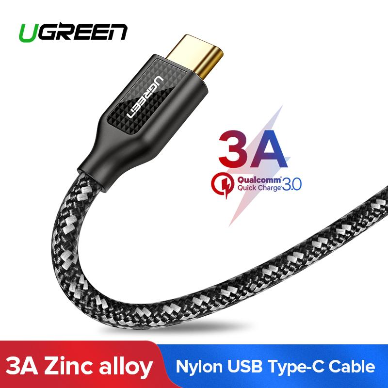 UGREEN 1Meter Kabel Data USB C Carbon Fiber Zinc Alloy Type C Cable for Xiaomi Pocophone F1, Xiaomi 5/ Samsung S8/Note 8,Huawei Mate9/Mate 10/P9/P10, Fast Charging Data Cable for Android Handphone