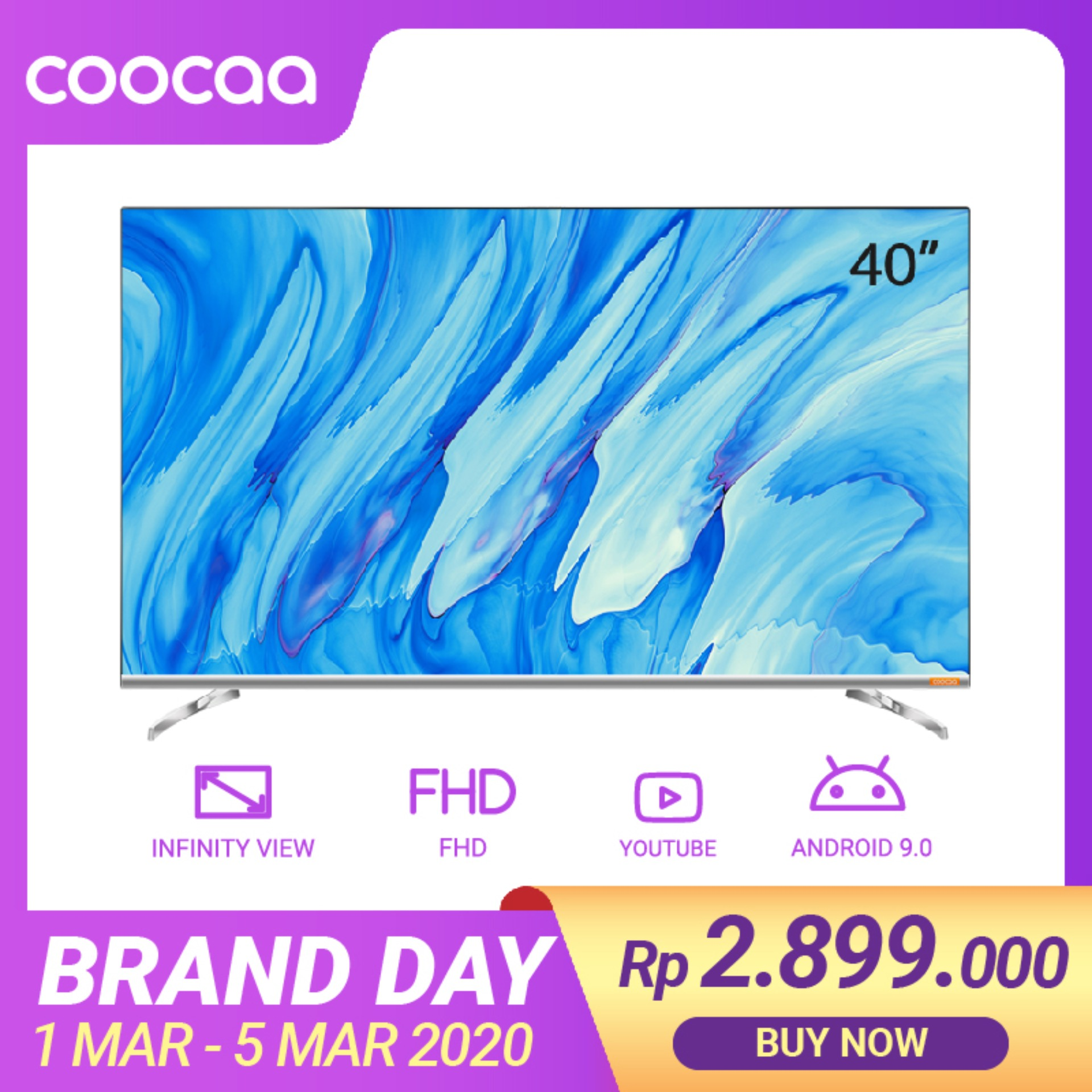 COOCAA 40 inch Android 9.0 Smart LED TV -Infinity View- Full HD- Slim- Wifi (Model 40S6G)