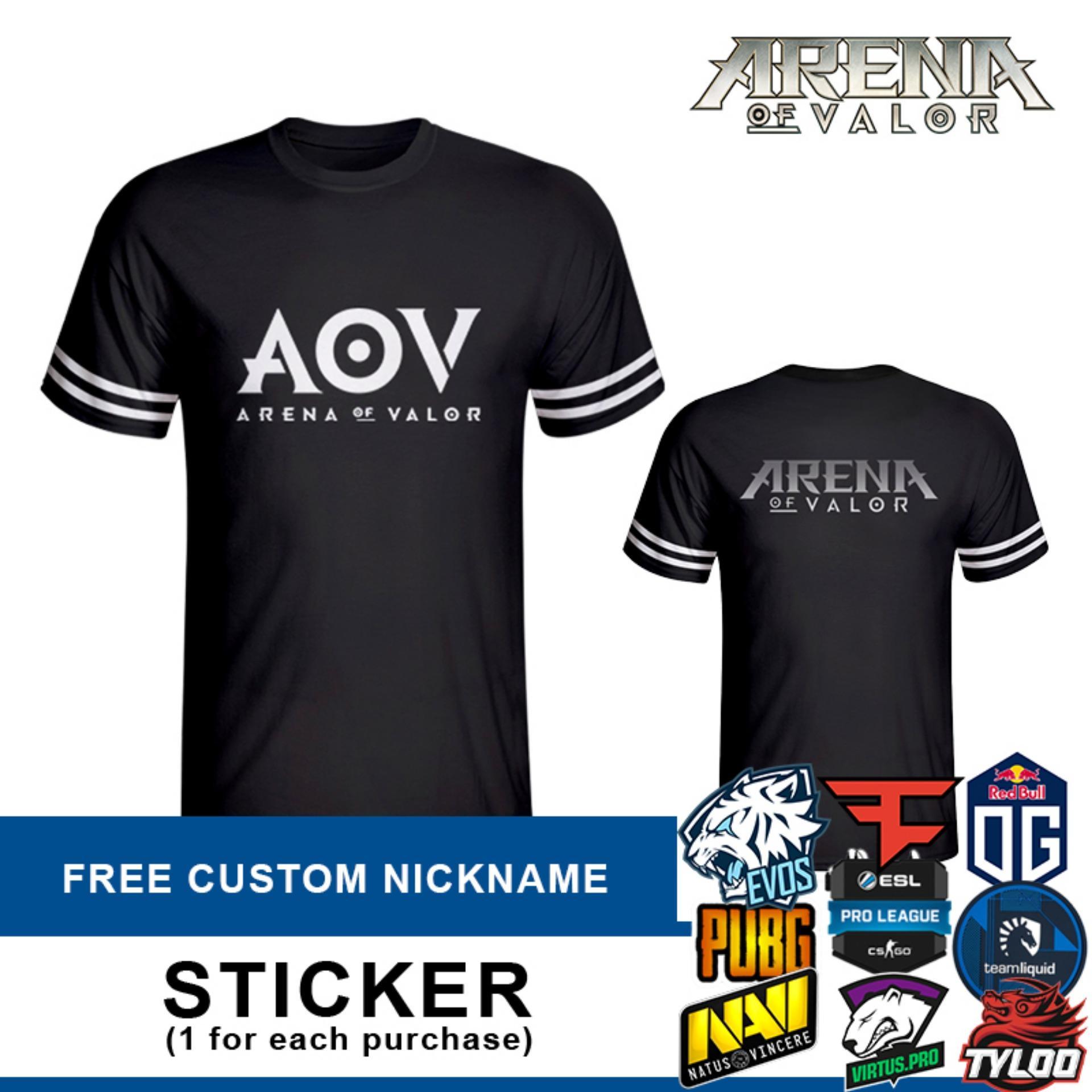 Tshirt Arena Of Valor Black (AOV) + Custom NICKNAME