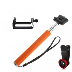 Toko Monopod Self Portraits Tongsis Orange Lens Clip Fisheye 3In1 Red Monopod
