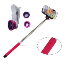 Jual Monopod Bluetooth Z07 05 Pink Lens Clip 3In1 Fisheye Pink Monopod Original