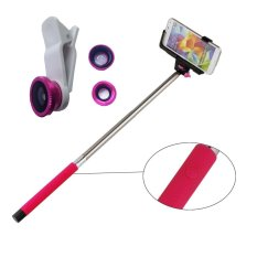 Jual Monopod Bluetooth Z07 05 Pink Lens Clip 3In1 Fisheye Pink Murah