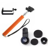 Spesifikasi Monopod Self Portraits Tongsis Orange Lens Clip Fisheye 3In1 Black Paling Bagus