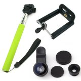 Jual Monopod Self Portraits Tongsis Hijau Lens Clip Fisheye 3In1 Black Online