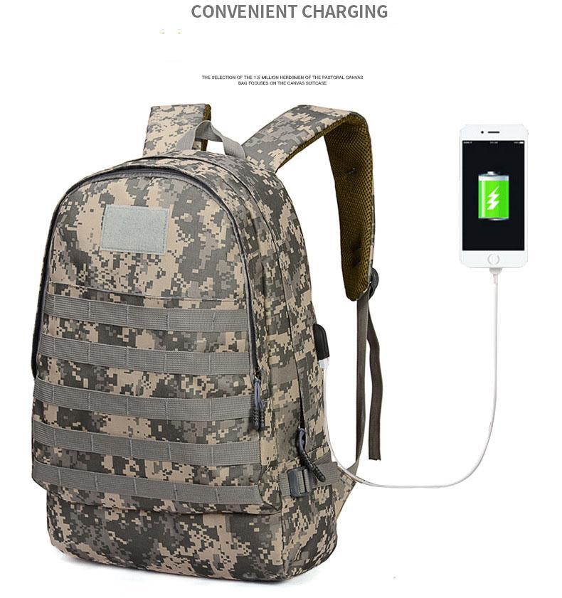 Techdoo Tas Ransel Army Military Tactical Backpack USB Port Tas Tentara Rucksack Trekking PUBG TCR08