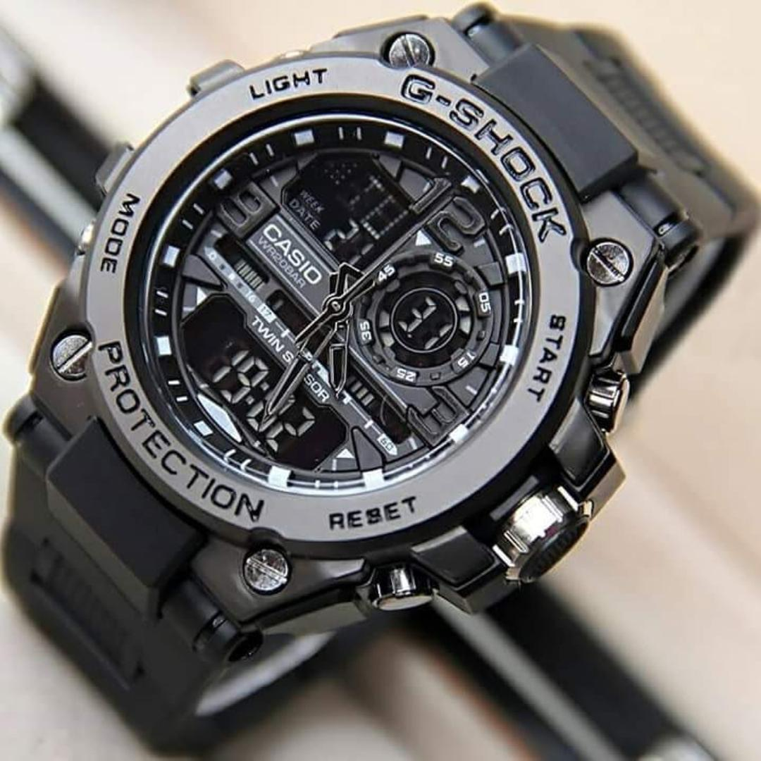 casio g shock_1013 Jam Tangan Pria dual time BODY BESI TALI KARET - Limited edition BLACK